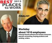 Workday is among our Best Places finalists, with 1010 employees, based in Pleasanton. On the left is co-CEO Dave Duffield. On the right is co-CEO Aneel Bhusri.