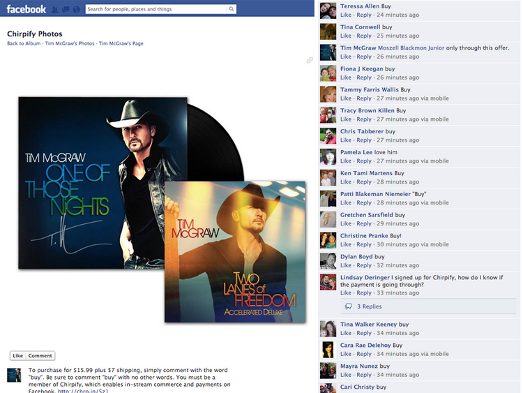 Country artist Tim McGraw is using Portland-based Chirpify's software to enable in-stream transactions on Facebook.