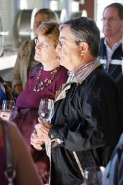 Michael Herbert and wife, Anne, on the Cade tour. The Cade winemaker is Danielle Cyrot.