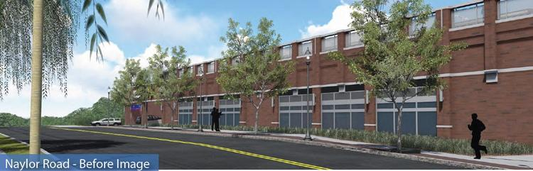 Rendering of the Wal-Mart building at Skyland Town Center, along Naylor Road SE, as originally proposed, with spandrel glass blocks and a less than active streetscape.