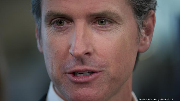 """Lt. Gov. Gavin Newsom wrote a letter criticizing a notice sent to UC workers about """"sharing economy"""" companies such as Uber and Airbnb."""