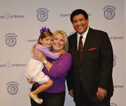 Nina Centofanti, a March of Dimes National Ambassador Child, with her mom and CBS sportscaster Greg Gumbel.
