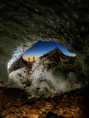 A view of sunset from the Glacier Caves Snow Dragon entrance.