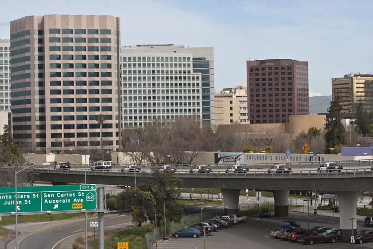 Downtown San Jose from the Guadalupe Expressway on-ramp from Highway 101.