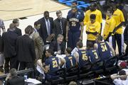 Cal basketball Coach Mike Montgomery takes a time out during the Cal vs. UNLV game, which Cal won 64-61.