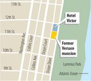 Map showing the location of the Versace mansion on South Beach.