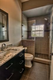 One of the bathrooms includes a shower for employees who bike or run to work.