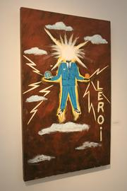 """Johnson painted, """"Electric Primitive Man,"""" in 2013 as his unique take on a self-portrait."""