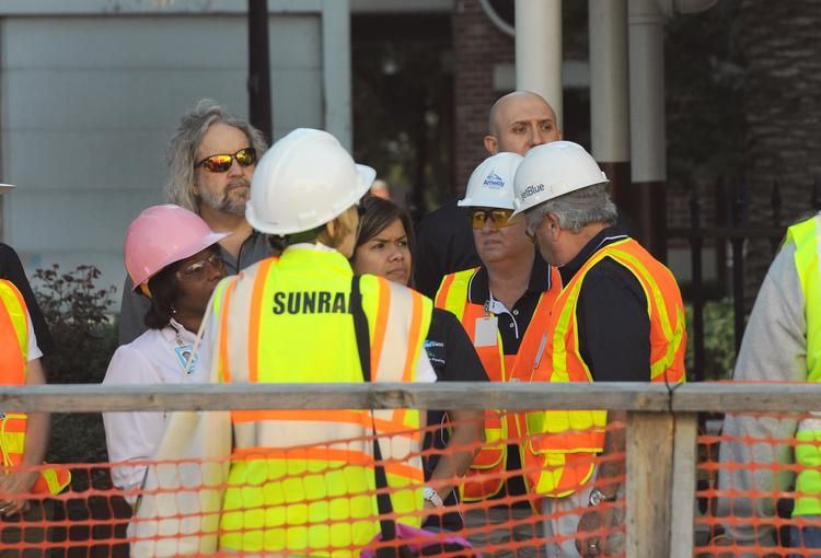 Officials from city of Orlando, FDOT and SunRail gather for a safety meeting before the downtown Orlando SunRail train debut.
