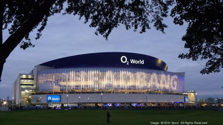 The O2 World arena in Berlin has a facade made of digital screens that can project messages or advertising.