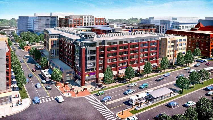 The JBG Cos. has broken ground on The Exchange at Potomac Yard, which will house nearly 600 units near a Metro station.