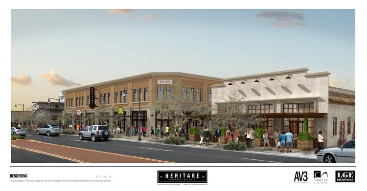 A rendering of the Heritage Marketplace in downtown Gilbert.