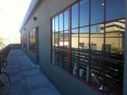 Some of the office units open out on this balcony on the second floor of the building.