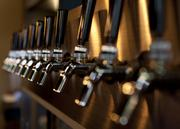 A line of taps behind the bar at Commonwealth Tap is shown here.