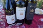 """The Newton wines that the Best in Business group sampled. The wine called """"The Puzzle"""" is made from a complex blend of grape varieties, giving it its name. The blend can be seen on the label."""