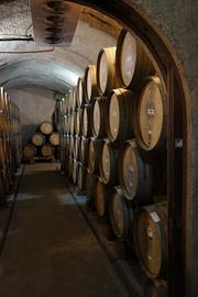 Newton wine, in barrel storage in the caves, so it can be kept at precise tempertures. The winery is designed so that pressings from 112 separate parcels can ferment separately.