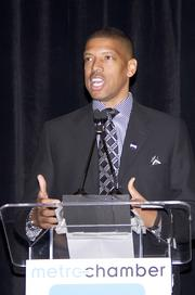 Sacramento Mayor Kevin Johnson speaks at the Sacramento Metro Chamber's Perspectives on Winning event.