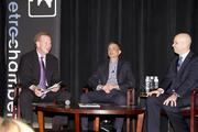 Broadcaster Grant Napear, Kings majority owner Vivek Ranadive and Kings president Chris Granger talk in a panel discussion at the Sacramento Metro Chamber's Perspectives on Winning event.