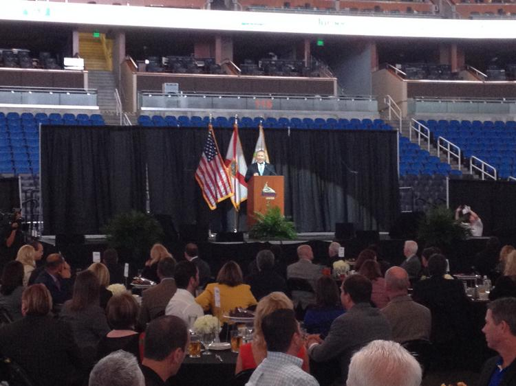 Orlando Mayor Buddy Dyer during his Downtown Orlando Partnership's 2013 State of Downtown address at Amway Center referenced plans to revitalize Orlando's Parramore neighborhood.