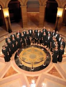 VocalEssence ensemble singers at the Minnesota State Capitol building.
