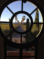 The view of the entrance driveway at Round Pond, from the inside of the keyhole doorway.