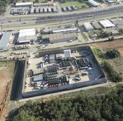 An aerial view of an FTS International frack job in Fort Worth.