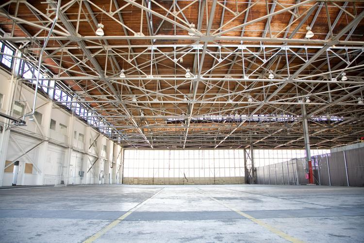 Many of the buildings in Alameda Point feature high ceilings and wide open spaces.
