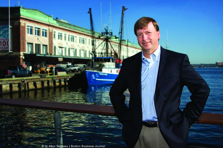 Paul Kelly, managing director at Santander by the Boston Fish Pier which is home to a number of his clients. He talked with the BBJ about the banking industry's generation gap –its lean pipeline of young managers.