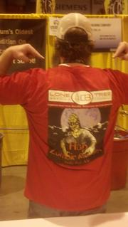 Jason Wiedmaier, co-owner and brewer at Lone Tree Brewing Co., shows off the shirt he had made for the release of his first limited-edition bottled beer, Hop Zombie Imperial Red Ale.