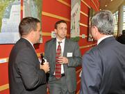 Jeff Bardonaro of Key Bank networks with other attendees at the 2013 DBJ Manufacturing Awards Event at the Schuster Center.