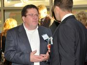 Kent Barga of Upper Valley Career Center networks with other attendees at the 2013 DBJ Manufacturing Awards Event at the Schuster Center.