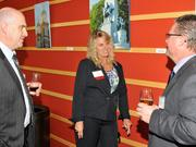 Jenny Rodgers of WesBanco talks to guests at the 2013 DBJ Manufacturing Awards Event at the Schuster Center.