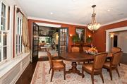 The formal dining room at 2515 Handasyde also has French doors that open to the covered terrace.