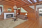Lindell: The paneled living room.
