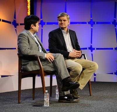 """AOL co-founder Steve Case, right, says the U.S. is shifting """"to a more broadly dispersed innovation economy."""" He spoke with MIT Media Lab director Joi Ito during the Emerging Technologies Conference in Cambridge."""
