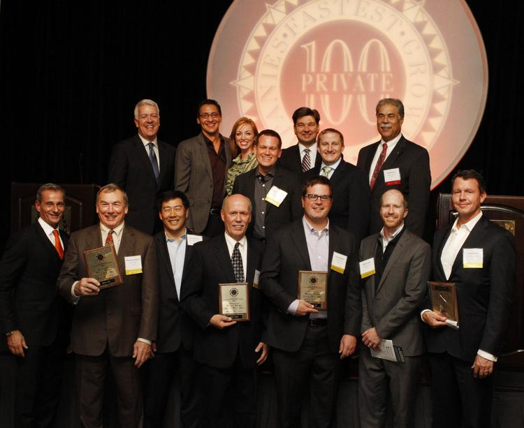 Members of the top 10 businesses at the Puget Sound Business Journal's 100 Fastest-Growing Private Companies event Thursday.