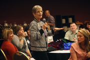 Susan Greening of the Business Journal speaks during the morning sessions.