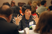 Monique Little of First Tech Credit Union serving as table captain in the HR Summit morning sessions.