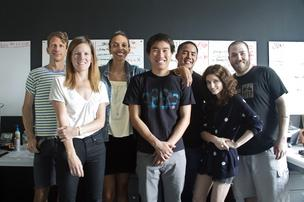 Jean Brownhill Lauer (third, from left) with the staff of Sweeten in its New York City headquarters.