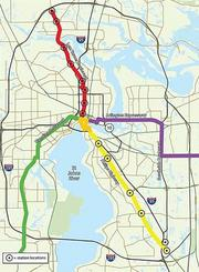 Jacksonville's Bus Rapid Transit system will have a Downtown loop and four other corridors that feed into it from the North, East, Southeast and Southwest.BRT's are sophisticated bus systems that have their own dedicated lanes on city streets.