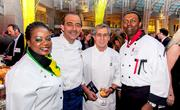 The fifth annual Embassy Chef Challenge was held March 14 at the Ronald Reagan Building in D.C. Chefs from around the world dished up hors d'oeuvres showcasing their country's cuisine. From left, chef Sherene James, Embassy of Jamaica; Chef Xavier Deshayes, executive chef, Ronald Reagan Building and International Trade Center; Chef Sina Molavi, executive chef, Occasions Caterers; and Chef Mukesh Ramnarine, Embassy of the Republic of Trinidad and Tobago.
