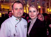 The fifth annual Embassy Chef Challenge was held March 14 at the Ronald Reagan Building in D.C. Chefs from around the world dished up hors d'oeuvres showcasing their country's cuisine. Chef Viktor Merényi, Embassy of Hungary, with Zita Bolla Merényi.