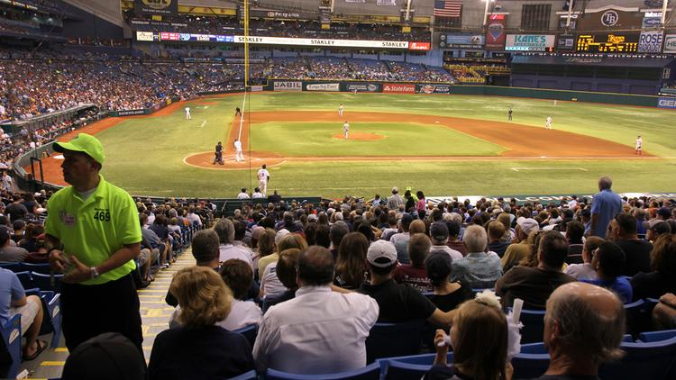 Tropicana Field during a Tampa Bay Rays game against the Boston Red Sox in the regular season.