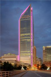 Duke Energy Center was decked out in pink for CREW Charlotte's Queen City in Pink event for breast cancer awareness.