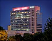 The NASCAR Plaza and Hall of Fame building uptown was decked out in pink for CREW Charlotte's Queen City in Pink event for breast cancer awareness.
