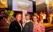 The fifth annual Embassy Chef Challenge was held March 14 at the Ronald Reagan Building in D.C. Chefs from around the world dished up hors d'oeuvres showcasing their country's cuisine. From left, Christine Davies, an airline hostess from Etihad and Casey Hasting.