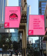 The EpiCentre uptown was decked out in pink for CREW Charlotte's Queen City in Pink event for breast cancer awareness.
