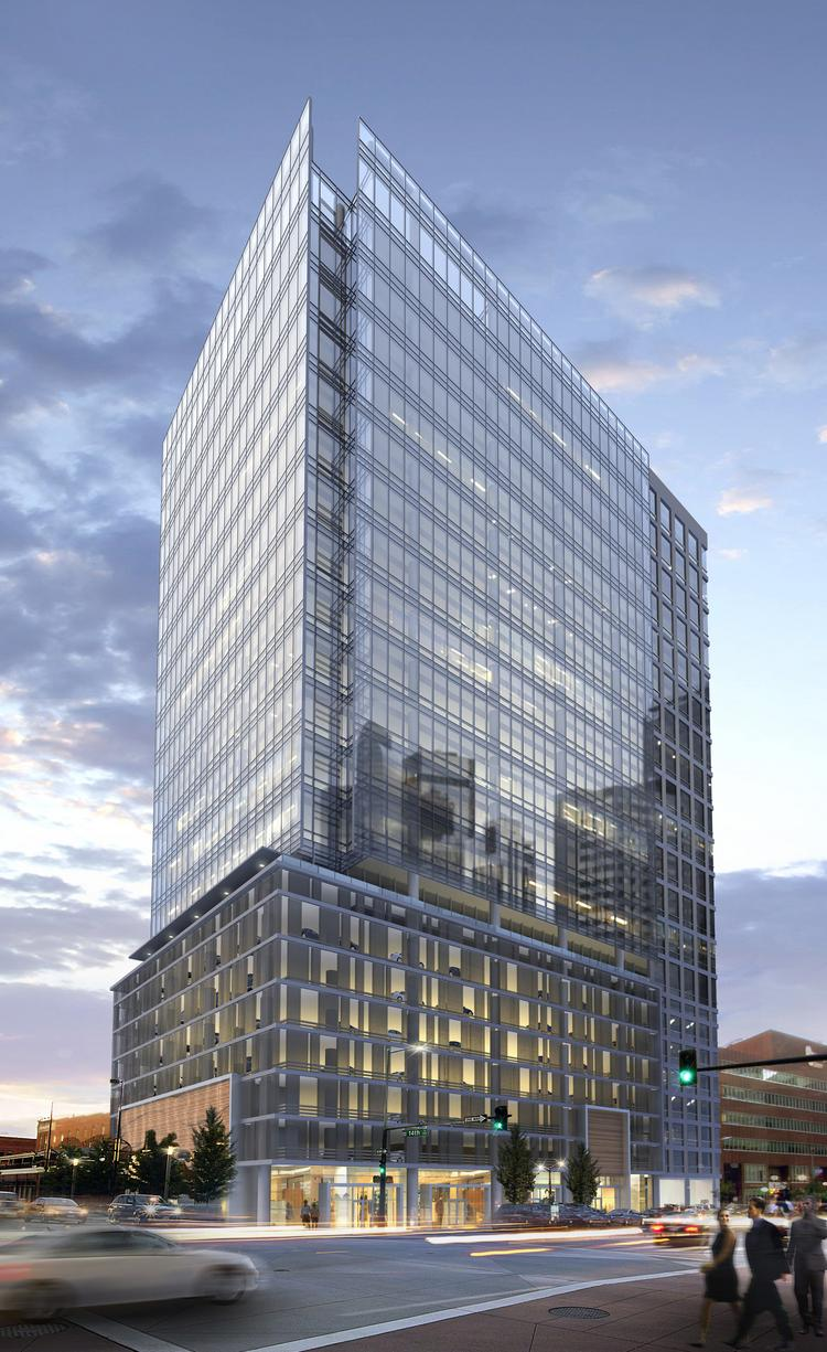 Rendering of Toronto-based First Gulf Corp.'s proposed 21-story office tower at 1401 Lawrence St., Denver.