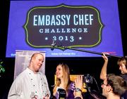 The fifth annual Embassy Chef Challenge was held March 14 at the Ronald Reagan Building in D.C. Chefs from around the world dished up hors d'oeuvres showcasing their country's cuisine. Chef Nathan Bates of the New Zealand Embassy and 2013 Embassy Chef Challenge Winner is interviewed by local media.