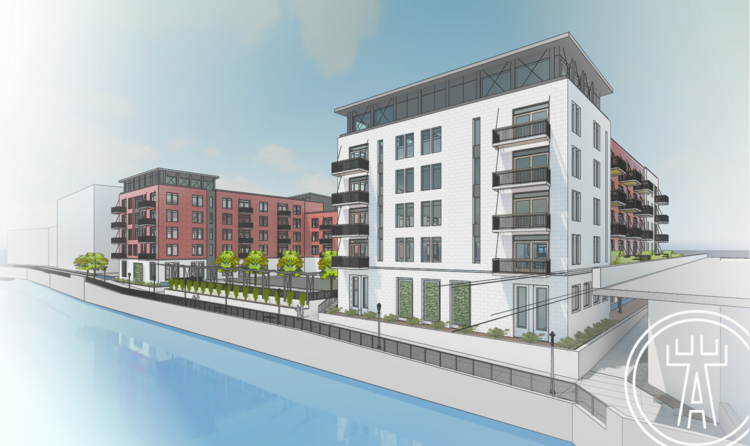 A rendering of the proposed building viewed from the Milwaukee River.